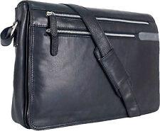"""UNICORN Réal en cuir 16.4"""" Laptop, Ordinateur Portable Sac Messager Noir #1G"""