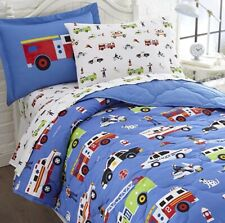 Olive Kids Heroes Twin 5PC Comforter Sham Sheet Set Firemen Police Dog Truck NEW