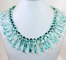 "NY6DESIGN Large Aqua Quartz Branch Beads Silver Necklace 19"" Spring color*"