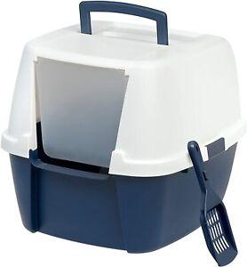 IRIS USA Large Hooded Corner Litter Box with Scoop