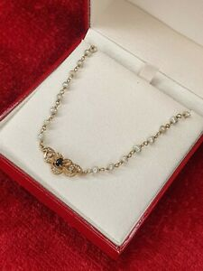 🎇A 14ct Yellow Gold Pearl Necklet with a Solid Gold Sapphire Pendant