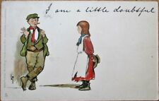 Lance Thackeray/Artist-Signed 1905 Raphael Tuck Postcard: Boy Smoking Cigar-Girl