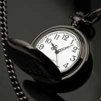 Mens Pocket Watch Quartz White Dial Stainless Steel Case Arabic Numerals Luxury