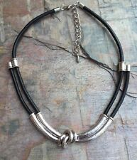 Lagenlook, abstract choker, necklace, with polished twisted bars,  leather cord.
