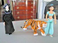 "Disney Aladdin Lot ~ '92 Princess Jasmine 5"" PVC Doll, '92 Rajah & BK Toy Jafar"