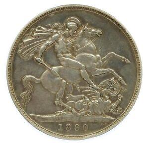 1890 Victoria Silver Crown Coin #6