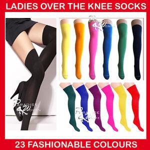 LADIES OVER THE KNEE SOCKS LADIES THIGH HIGH SOCKS - 22 Colours
