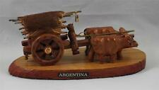 Wagon Oxen Real Hide Figurine Covered Kelly's Wood Carved From Argentina