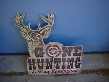XL EMBOSSED REMINGTON GONE HUNTING WITH MY REMINGTON METAL TIN SIGN ELK BUCK DOE