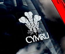 Wales 'Cymru' - Car Window Sticker - Prince of Wales Sign Feathers Rugby - TYP2