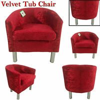 Crushed Velvet Tub Chair Sofa Seat Bedroom Living Room Office Reception Armchair