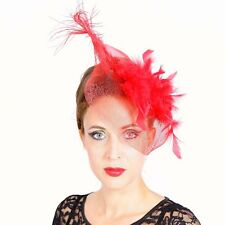 Fascinator Feathers Red Hair Clip Veil Wedding Accessory Bridal Large