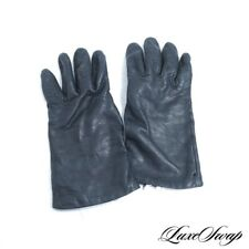 Saks Fifth Avenue Black Nappa Leather 100% Cashmere Lined Winter Gloves 7.5 NR