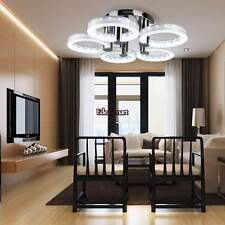 Contemporary Crystal LED Ceiling w 5 Light Pendant Flush Steel Lamp Fixture