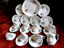 Vintage QUEEN ANNE Blue Flora & Foliage Gilded 21 Pc TEA SET c1959 FREE UK POST