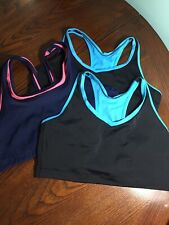 Lot 3 Plus Bestform 42 Sports Bras, 2 Turquoise Black +1 Navy Pink, Double Layer