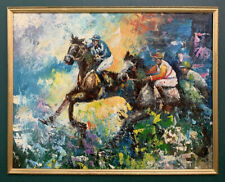 Large Mid Century Post Impressionist Equestrian Oil On Canvas Painting