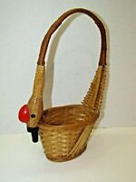 "Vintage Bamboo Woven Goose Neck Handle Decorative Basket 13.5"" Tall"