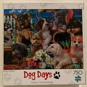 Buffalo  Dog Days FUNNY PUPPIES  750 Piece Puzzle w/Poster