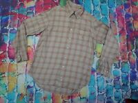 AD3 Burberry Shirt Checked Brown Cream Heavy Cotton Long Sleeve Medium Large