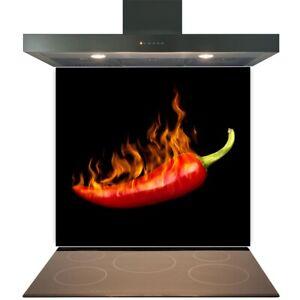 Kitchen Glass Splashback Toughened Tile Cooker Panel Any Size Burning Chilli
