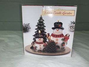 Christmas 5 Piece Candle Garden Two Snowmen Tree Pinecone Metal Plate Candles