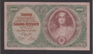 50 000 KRONEN  FINE-VF BANKNOTE FROM AUSTRIA/AUSTRO-HUNGARIAN BANK 1922  PICK-80