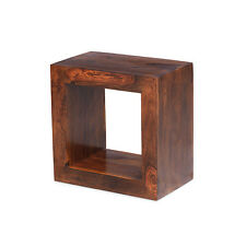 Cuba Sheesham One Hole Cube Storage Display Solid Wood Indian Living Room