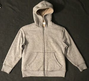 Crazy 8 Boys Grey Speckled Sweatshirt W/ Faux Fur Size 7/8