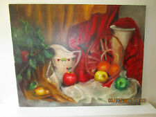 vintage Mid Century original oil painting Still Life with Apples & Red Curtain