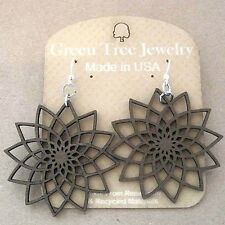 STAR FLOWER Green Tree Jewelry BROWN laser-cut wood earrings Made-in-USA 1234