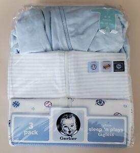 Gerber 3-pack Boys  zip front tag-less Sleep 'n Plays New in package 6-9 months