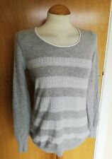Ladies ANGORA Blend Jumper tops Size 10 grey white