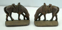 Vintage Copper finish Cast Iron Cowboy Horse Bookends Wild West circa 1930-40's