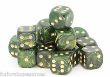 25 x 12mm Gold Mist D6 Spot Dice Six Sided plastic - Green