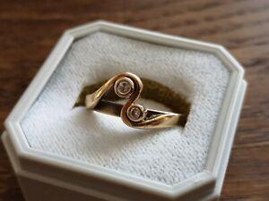 585 Gold Verlobungsring Vorsteckring Ring  Diamant Brilliant 008 TW/SI gepunzt