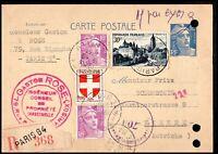 France 1951 Registered Paris Postcard to Vienna Austria Postal History