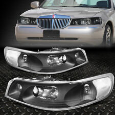 FOR 98-02 LINCOLN TOWN CAR BLACK HOUSING CLEAR SIDE DRIVING HEADLIGHT/LAMPS SET