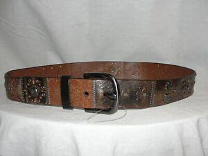 FOSSIL Women's Size S Black Brown Leather Patchwork Studded Embellished Belt