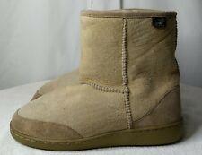 Tan Suede AUSTRALIAN BOOT CO. Winter Boots sheepskin lined womens Sz 8 men 7