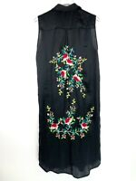 Zara Collection Duster Top Size M Medium Black Floral Embroidered Shirt