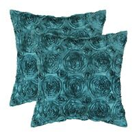 """2Pcs Teal Cushion Covers Cases Shell Couch Sofa Home Decor Roses Floral 18 x 18"""""""
