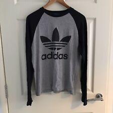 Adidas Men's Black Grey Long Sleeve T-Shirt Top, XS-S