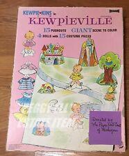 """1968 SAALFIELD """"KEWPIE-KINS KEWPIEVILLE"""" PAPER DOLLS AND GIANT SCENE TO COLOR"""