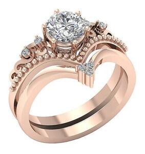 Bridal Engagement Multipul Ring Set SI1 G 1.15Ct Round Cut Diamond 14k Rose Gold