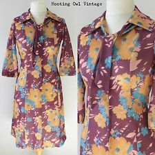 VINTAGE 1960S MOD DRESS RETRO BOLD FLORAL NECK TIES BIG COLLAR PURPLE 10-12