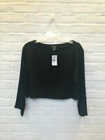 FLASH SALE - NWT Club Monaco Black Long Sleeve Crop Top Blouse - L - Org $139