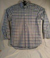 Charles Tyrwhitt Men Size M Oxford Weave Medium Madras Button Front Dress Shirt