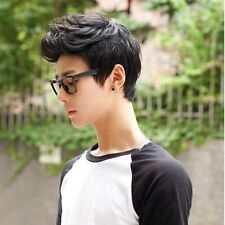 Black Korean Men's Handsome Short Straight Hair Full Wigs Cosplay Party Wig