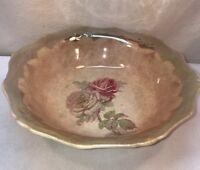 Vtg Antique Cottage Pink & White Shabby Crackle Rose Tea Stained Serving Bowl